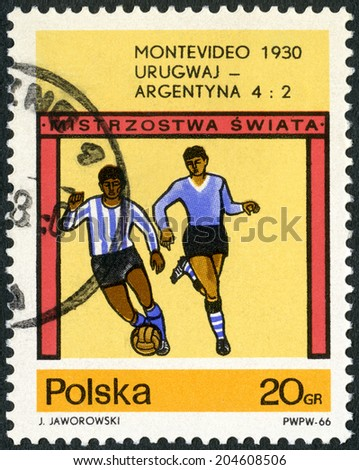 POLAND - CIRCA 1966: A stamp printed in Poland shows final soccer game, Uruguay - Argentina, 4-2, World Cup Soccer Championships, Montevideo, 1930, circa 1966 - stock photo