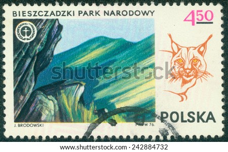 "POLAND - CIRCA 1976: A stamp printed in Poland shows lynx and view of national park Biszczadzki, with the same inscription, from the series ""Polish National Parks"", circa 1976 - stock photo"