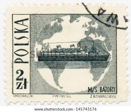 POLAND - CIRCA 1966: A stamp printed in Poland, shows ocean liner MS Batory and globe, circa 1966 - stock photo
