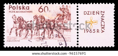 POLAND - CIRCA 1965: A stamp printed in Poland shows Piotr Michalowski, circa 1965 - stock photo