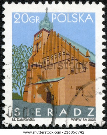 POLAND - CIRCA 2005: A stamp printed in Poland shows Sieradz temple Solemnity of All Saints, circa 2005