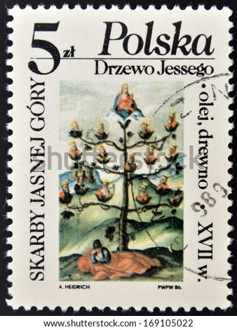 POLAND - CIRCA 1986: A stamp printed in Poland shows skarby jasnej gory, circa 1986  - stock photo
