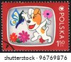 POLAND - CIRCA 1975: A stamp printed in POLAND shows Television for Children, from series, circa 1975 - stock photo