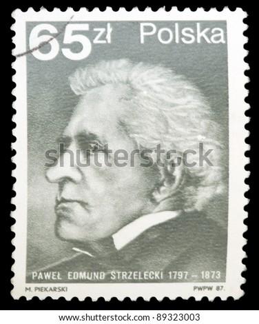 POLAND - CIRCA 1987: A stamp printed in Poland shows the Sir Paul Edmund de Strzelecki (1797-1873), circa 1987 - stock photo