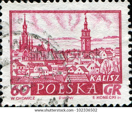 POLAND - CIRCA 1986: A stamp printed in Poland shows the View of Kalisz, circa 1986