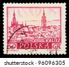 "POLAND - CIRCA 1960: A stamp printed in Poland shows view the main sights of the city in ancient times with the inscription ""Kalisz"", from the series ""Historical cities of Poland"", circa 1960 - stock photo"