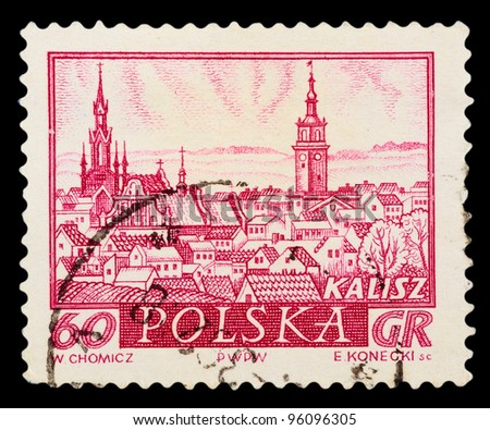 "POLAND - CIRCA 1960: A stamp printed in Poland shows view the main sights of the city in ancient times with the inscription ""Kalisz"", from the series ""Historical cities of Poland"", circa 1960"