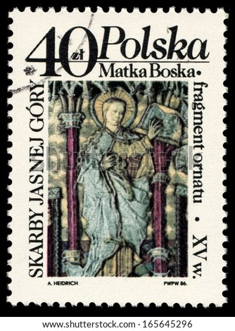 POLAND - CIRCA 1986: A stamp printed in Poland shows Virgin Mary from the middle ages, circa 1986 - stock photo