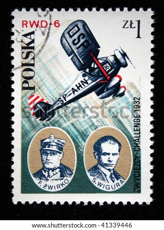 POLAND - CIRCA 1978: A stamp printed in Poland shows Winners of challenge 1932 Zwirko and Wigura and his airplane PWD-6, circa 1978