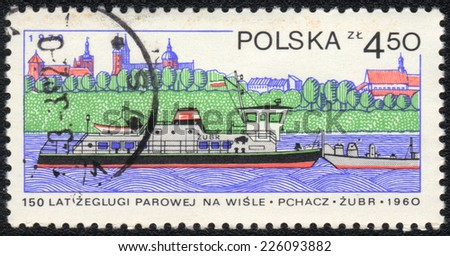POLAND - CIRCA 1979: A stamp printed in POLAND   shows 150 Years of steam navigation on the Vistula River -  pusher Zubr, circa 1979 - stock photo