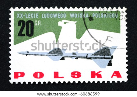 POLAND - CIRCA 1965: A Stamp printed in the Poland show the rocket, circa 1965