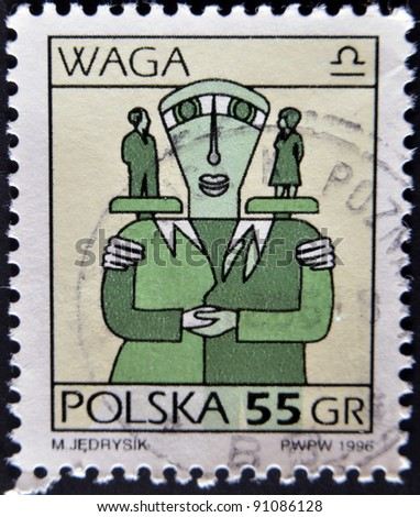 POLAND - CIRCA 1996: A stamp printed in the Poland, shows a sign of the zodiac, Libra, circa 1996