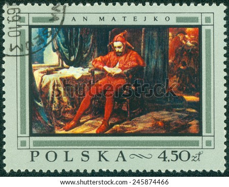 POLAND - CIRCA 1968: a stamp printed in the Poland shows Jester, Painting by Jan Matejko, circa 1968 - stock photo