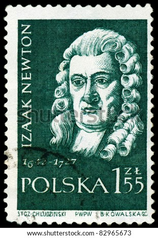 "POLAND - CIRCA 1959: A Stamp printed in the Poland shows  Sir Isaac Newton - the great  English physicist, mathematician, public  figure, series ""Scientists"", circa 1959 - stock photo"