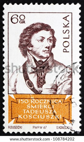 POLAND - CIRCA 1967: a stamp printed in the Poland shows Tadeusz Kosciusko, Polish Patriot and General in the American Revolution, circa 1967