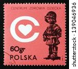 POLAND - CIRCA 1972: a stamp printed in the Poland shows The Little Soldier, by E. Piwowarski, Children's Health Center, to be built as Memorial, to Children Killed during Nazi Regime, circa 1972 - stock photo