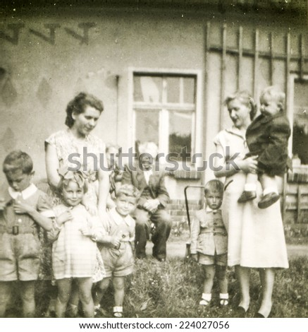 POLAND, CIRCA FIFTIES: Vintage photo of women with children