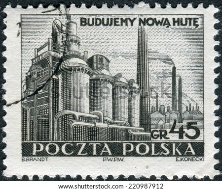 POLAND - CIRCA 1951: Postage stamp printed in Poland, shows a Steel Mill, Nowa Huta, circa 1951