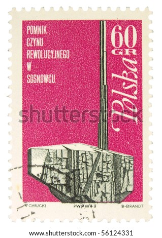 POLAND - CIRCA 1960s: a stamp printed in Poland showing monument, circa 1960s