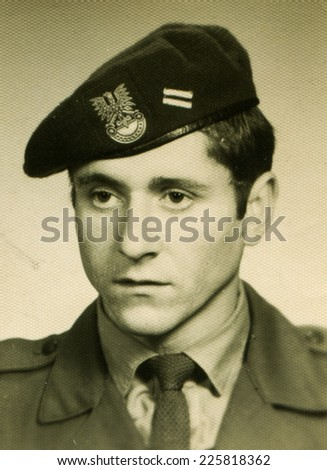 POLAND, CIRCA SIXTIES: Vintage portrait of young man in military uniform