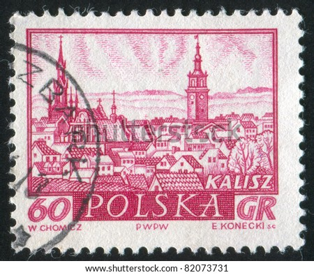 POLAND - CIRCA 1960: stamp printed by Poland, shows Historic Town Kalisz, circa 1960