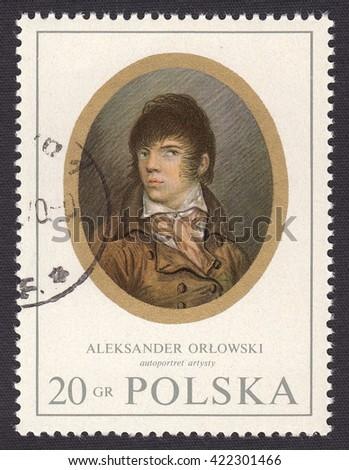 POLAND - CIRCA 1970: stamp printed by Poland, shows miniature portrait Aleksander Orlowski (1777-1832)-Russian painter of battle scenes and genre painter of Polish origin, circa 1970 - stock photo