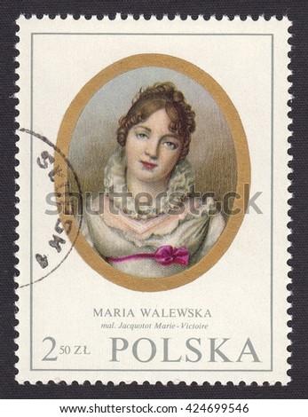 POLAND - CIRCA 1970: stamp printed by Poland, shows miniature portrait Maria Walewska (1789-1817)-Polish noblewoman,mistress of Napoleon I, circa 1970 - stock photo