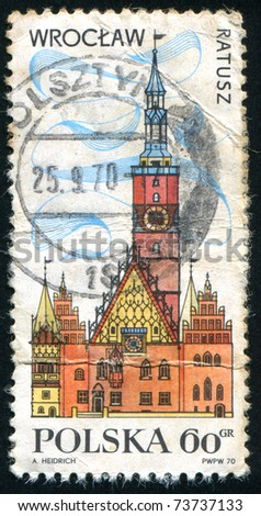 POLAND - CIRCA 1970: stamp printed in Poland, shows Townhall, Wroclaw, circa 1970. - stock photo