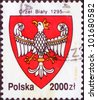 POLAND - CIRCA 1992: The stamp printed in Poland shows the stamp of tax collection, circa 1992. Emblem of Poland with the image of a white eagle 1295 year. - stock photo