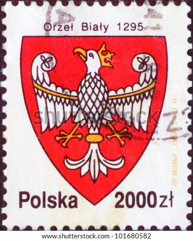 POLAND - CIRCA 1992: The stamp printed in Poland shows the stamp of tax collection, circa 1992. Emblem of Poland with the image of a white eagle 1295 year.