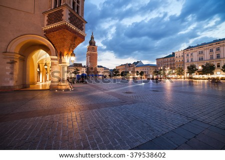 Poland, city of Krakow, Old Town Market Square in the evening - stock photo