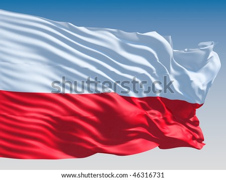 Poland flag flying on clear sky background. - stock photo