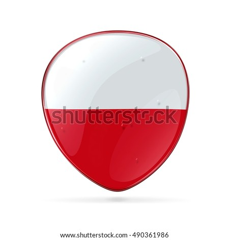 Poland Flag Icon, isolated on white background.