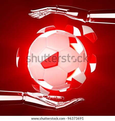 Poland flag on 3d Football on hand for Euro 2012 Group A - stock photo