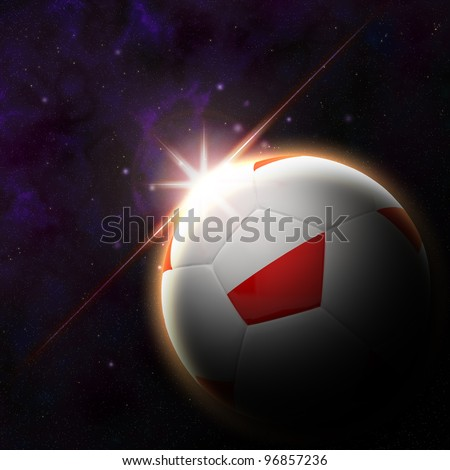 Poland flag on 3d football with rising sun illustration for Euro 2012 Group A - stock photo