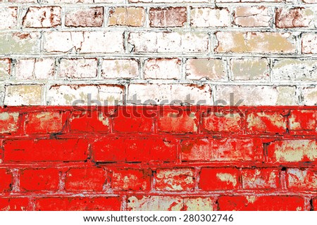 Poland flag painted on old brick wall texture background - stock photo