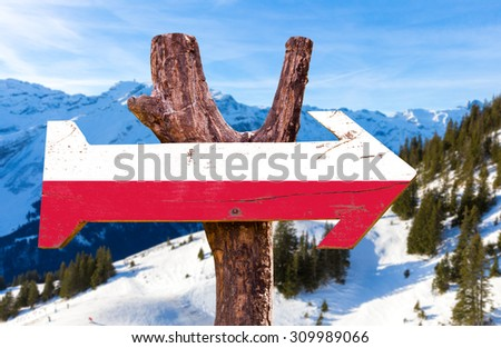 Poland Flag wooden sign with winter background - stock photo