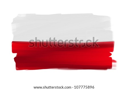 Poland hand painted national flag isolated on white - stock photo