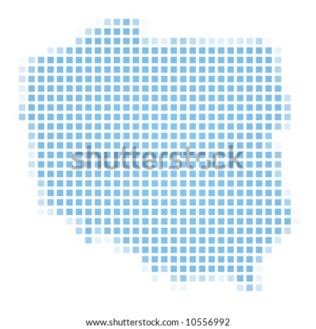 Poland map square mosaic. Easy to recolor. - stock photo
