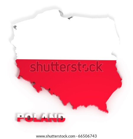 Poland, map with flag, isolated on white with clipping path, 3d illustration - stock photo