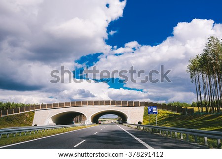 POLAND - SEPTEMBER 19, 2015: Highway with tunnels, Poland on September 19.