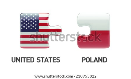 Poland United States High Resolution Puzzle Concept - stock photo
