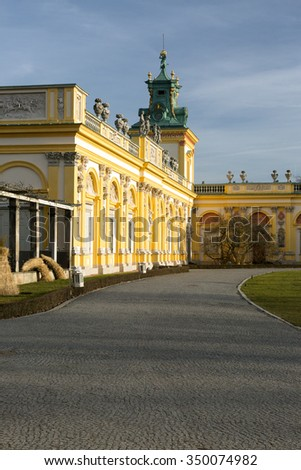 Poland-Warsaw,Wilanow in December 2015.View of the left wing of the Royal Palace in Wilanow,Poland,December 2015.Editorial,vertical view.