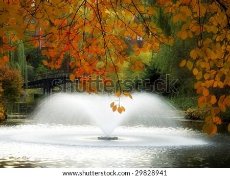 Poland Wroclaw Botanical Gardens in Autumn with Fountain - stock photo