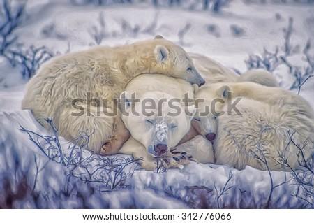 Polar bear and cubs sleeping,digital oil painting - stock photo
