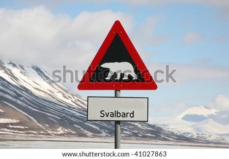 Polar bear sign - stock photo
