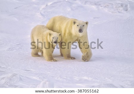 Polar bear walking with cub in Canadian Arctic,digital oil painting