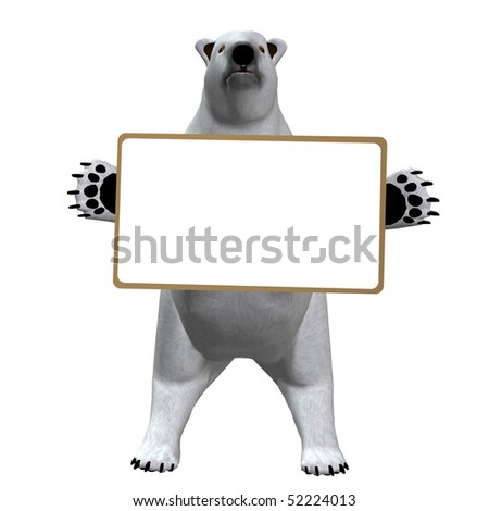 Polar bear with blank message board - stock photo