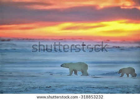 Polar bear with her cub walking on Arctic tundra at sunset,digital oil painting - stock photo