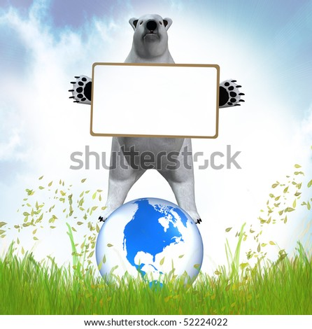 Polar bear with message board - stock photo